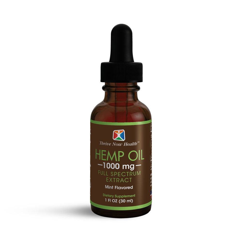 Hemp Oil Extract (1000mg, Mint Flavor) Natural, Full-Spectrum Extract.
