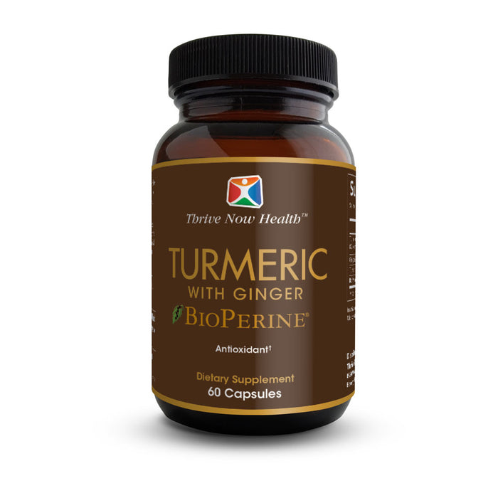 Turmeric Curcumin with Ginger and BioPerine (60 Capsules) Natural, Anti-Aging Antioxidants, Anti-Inflammatory, Joint Support, 95% Curcuminoids Pure Extract