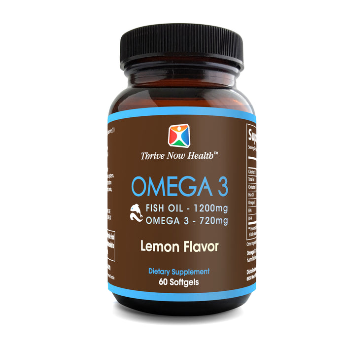 Omega 3, Lemon flavor, fish oil 1200 mg., Omega 3 720mg. High in EPA and DHA, 60 softgels
