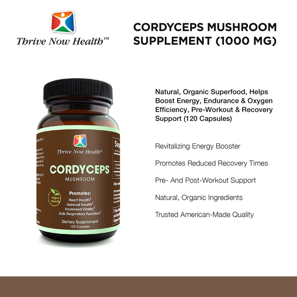 Cordycep Mushroom, 120 veggie capsules, Helps Boost Energy, Endurance, Oxygen Efficiency