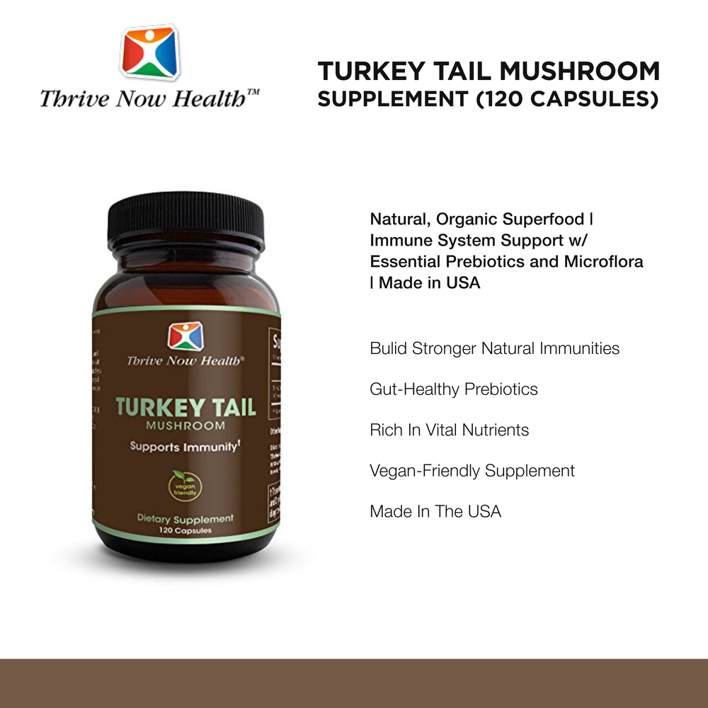 Turkey Tail Mushroom Supplement, Natural, Organic Superfood, 120 Capsules