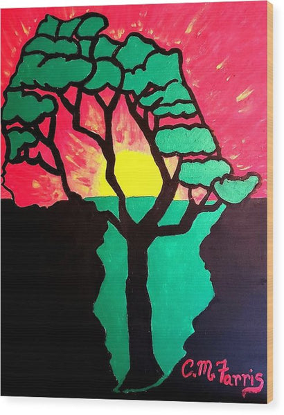 African Sunset  - Wood Print