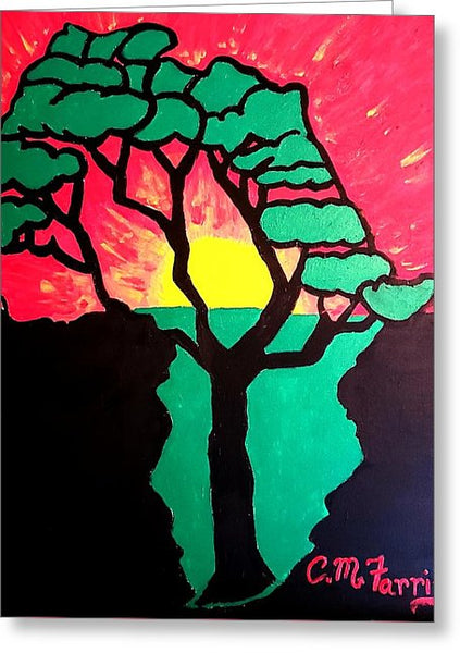 African Sunset  - Greeting Card