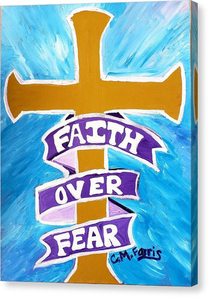 Faith Over Fear Cross  - Canvas Print