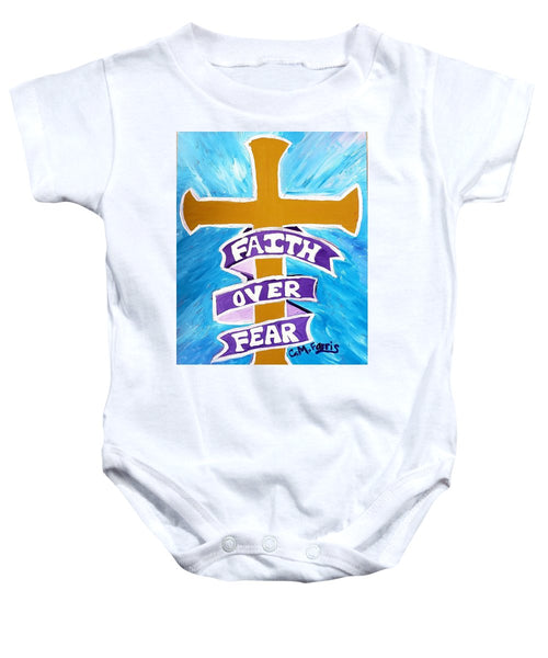 Faith Over Fear Cross  - Baby Onesie