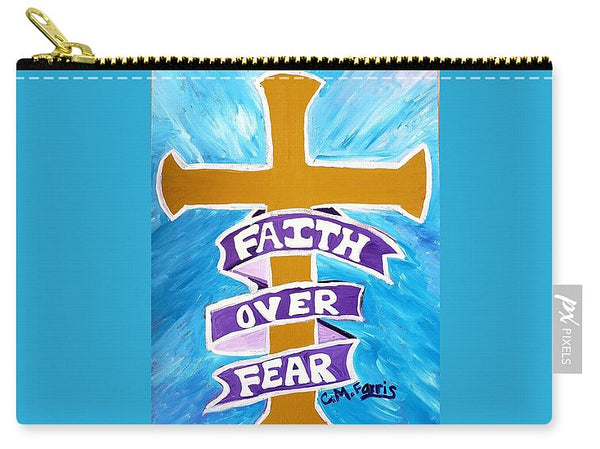 Faith Over Fear Cross  - Carry-All Pouch