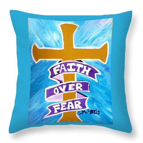 Faith Over Fear Cross  - Throw Pillow