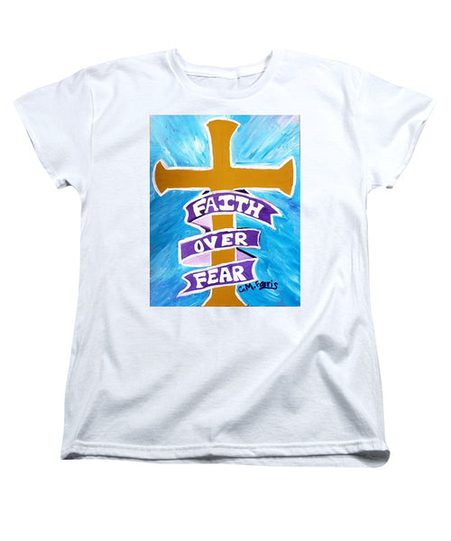 Faith Over Fear Cross  - Women's T-Shirt (Standard Fit)