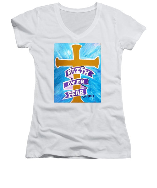 Faith Over Fear Cross  - Women's V-Neck