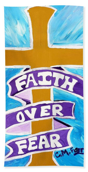 Faith Over Fear Cross  - Beach Towel