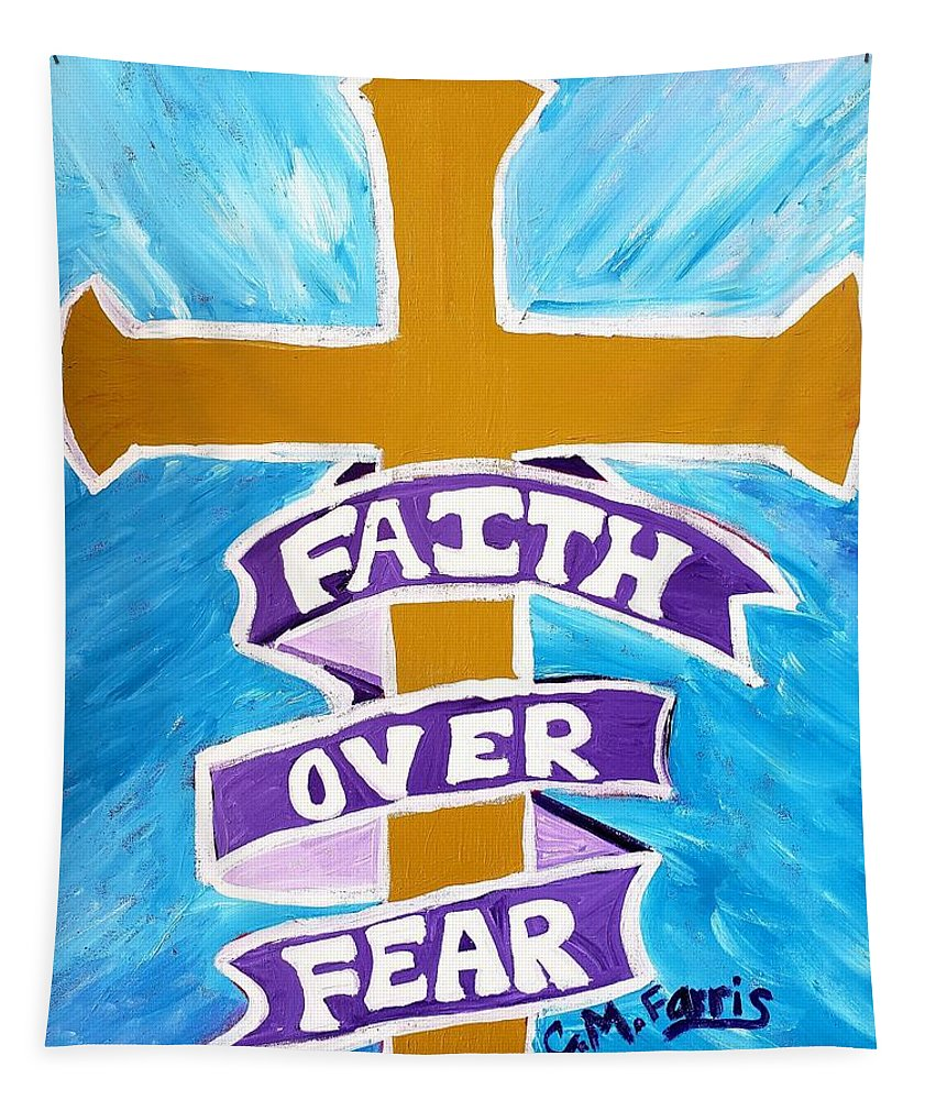 Faith Over Fear Cross  - Tapestry