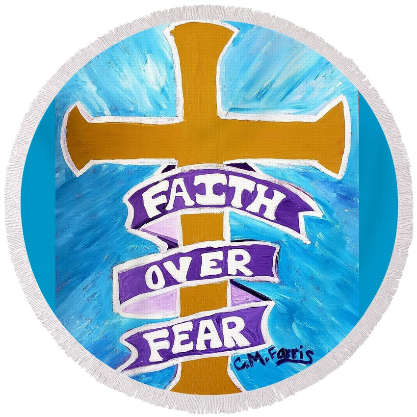 Faith Over Fear Cross  - Round Beach Towel