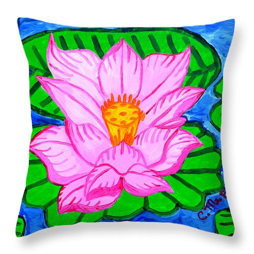 Pink Lotus Flower - Throw Pillow