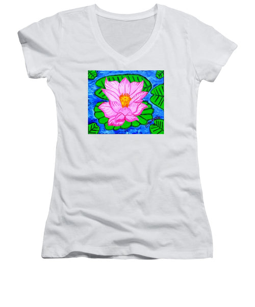 Pink Lotus Flower - Women's V-Neck T-Shirt (Junior Cut)