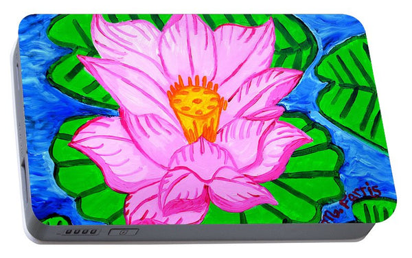 Pink Lotus Flower - Portable Battery Charger