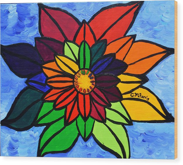 Rainbow Lotus Flower - Wood Print
