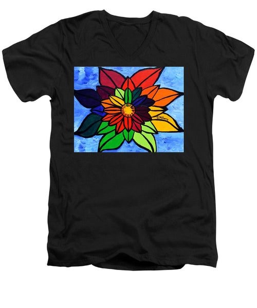 Rainbow Lotus Flower - Men's V-Neck T-Shirt