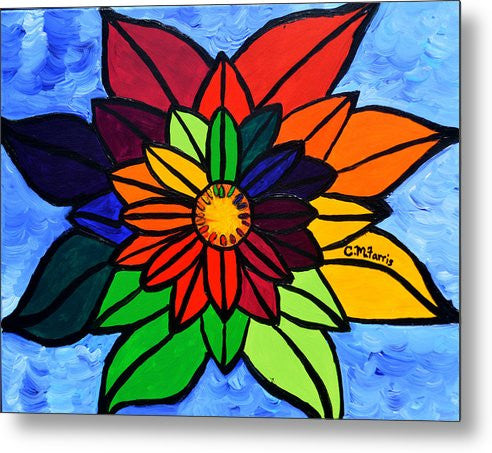 Rainbow Lotus Flower - Metal Print