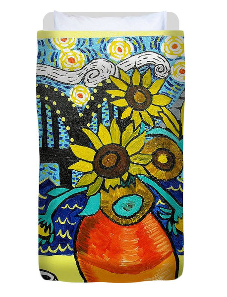 Sunflowers And Starry Memphis Nights - Duvet Cover