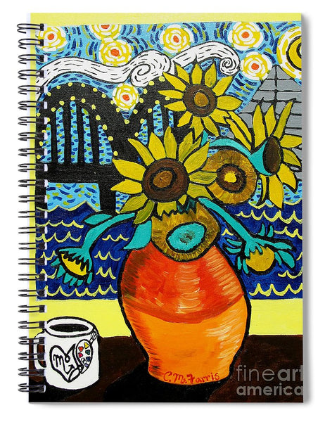 Sunflowers And Starry Memphis Nights - Spiral Notebook
