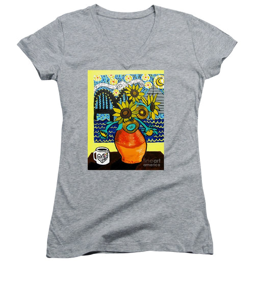 Sunflowers And Starry Memphis Nights - Women's V-Neck T-Shirt
