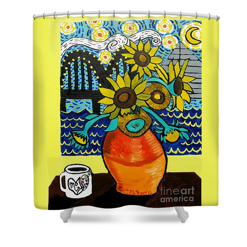 Sunflowers And Starry Memphis Nights - Shower Curtain