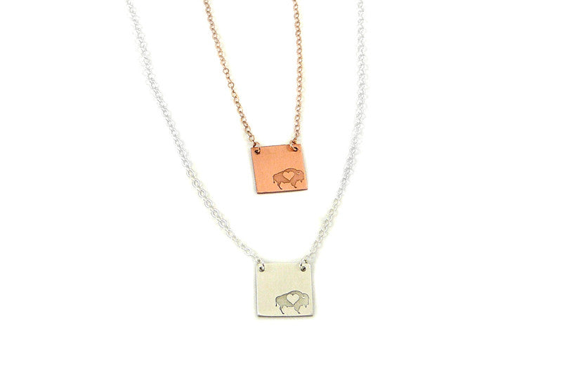 Square Necklace, Buffalo Necklace, Gold Necklace, Copper Necklace
