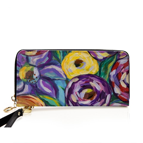 """Flowers and Coffee"" PU Leather Zip Around Wallet"