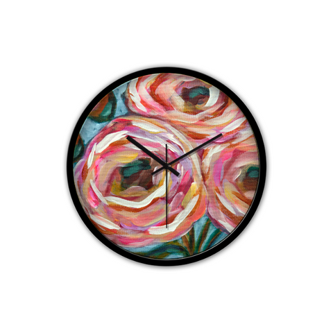 """Pink Posies"" Non-Ticking Silent Wall Clock"