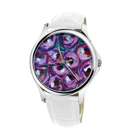 """Purple and Pears"" 30 Meters Waterproof Quartz Fashion Watch With White Genuine Leather"