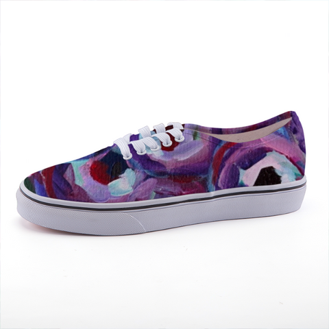 """Purple and Pears"" Low-top fashion canvas shoes"