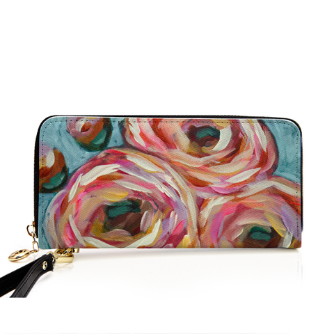 """Pink Posies"" PU Leather Zip Around Wallet"