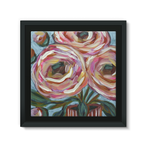 """Pink Posies"" Framed Canvas"