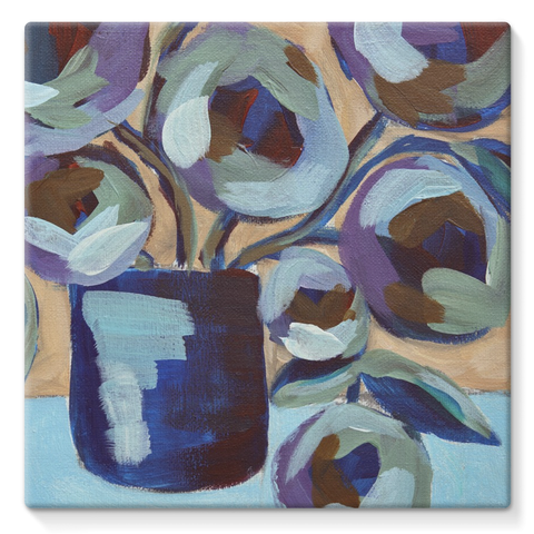 """Blue Abstract Floral"" Stretched Canvas"