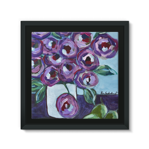 """Purple and Pears"" Framed Canvas"