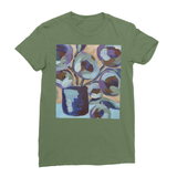 """Blue Abstract Floral"" Women's Fine Jersey T-Shirt"