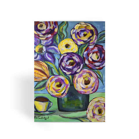 """Flowers and Coffee"" Greeting Card"