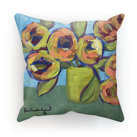 """Peaches and Green"" Cushion"