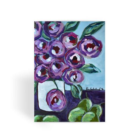 """Purple and Pears"" Greeting Card"