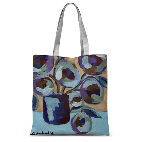 """Blue Abstract Floral"" Tote Bag"
