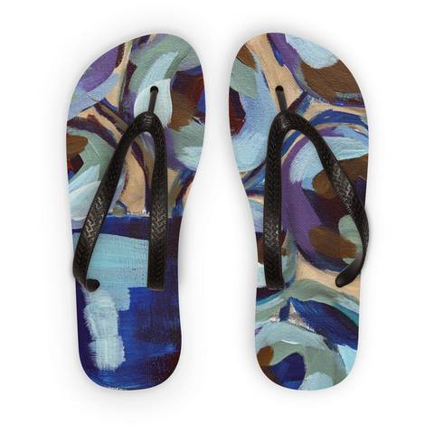 """Blue Abstract Floral"" Flip Flops"