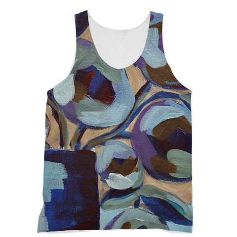 """Blue Abstract Floral"" Sublimation Vest"