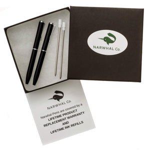 "NarwhalCo Set of 2 Black Small Pens (3.35"") - Pens Wallet :: Narwhal Company"