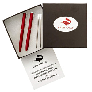 "NarwhalCo Set of 2 Red Small Pens (3.35"") with Black Ink - Pens Wallet :: Narwhal Company"