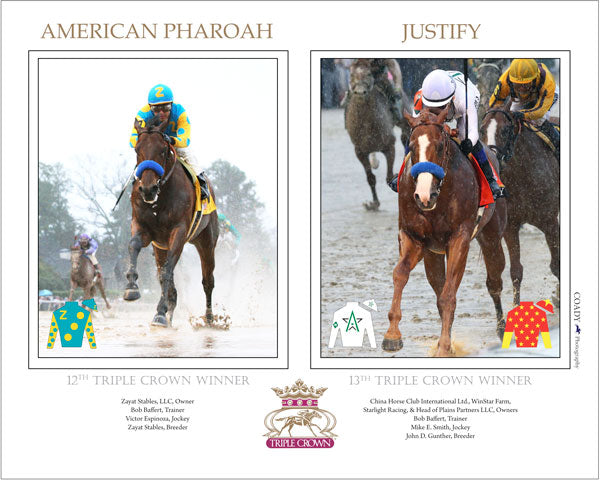 Justify and American Pharoah - Triple Crown Winners -  18x24 Print