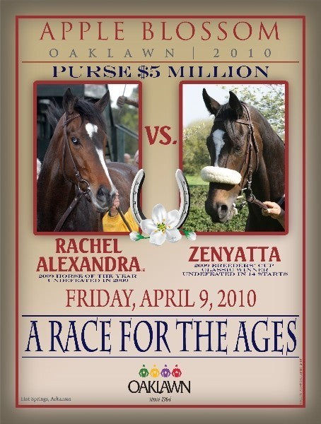Rachel Alexandra and Zenyatta Apple Blossom Photo