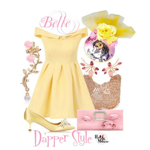 Dapper day disneybound inspiration of belle with yellow dress.