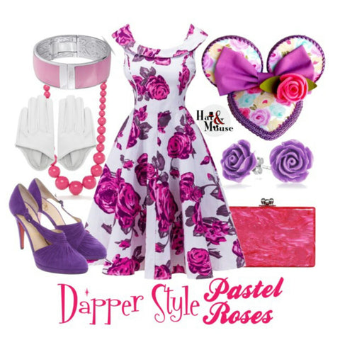 Dapper day disneybound inspiration pink and purple roses.