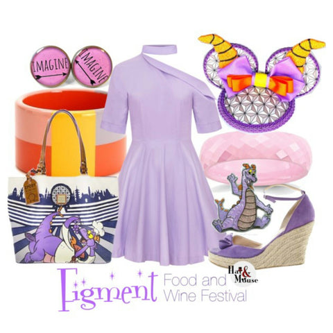 Epcot food and wine festival figment disneybound with mouse ears fascinator.
