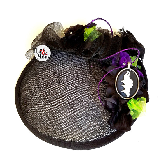 A disney maleficent inspired fascinator for cosplay, dapper day, pinup, vintage, disneybound, halloween costume fascinator.